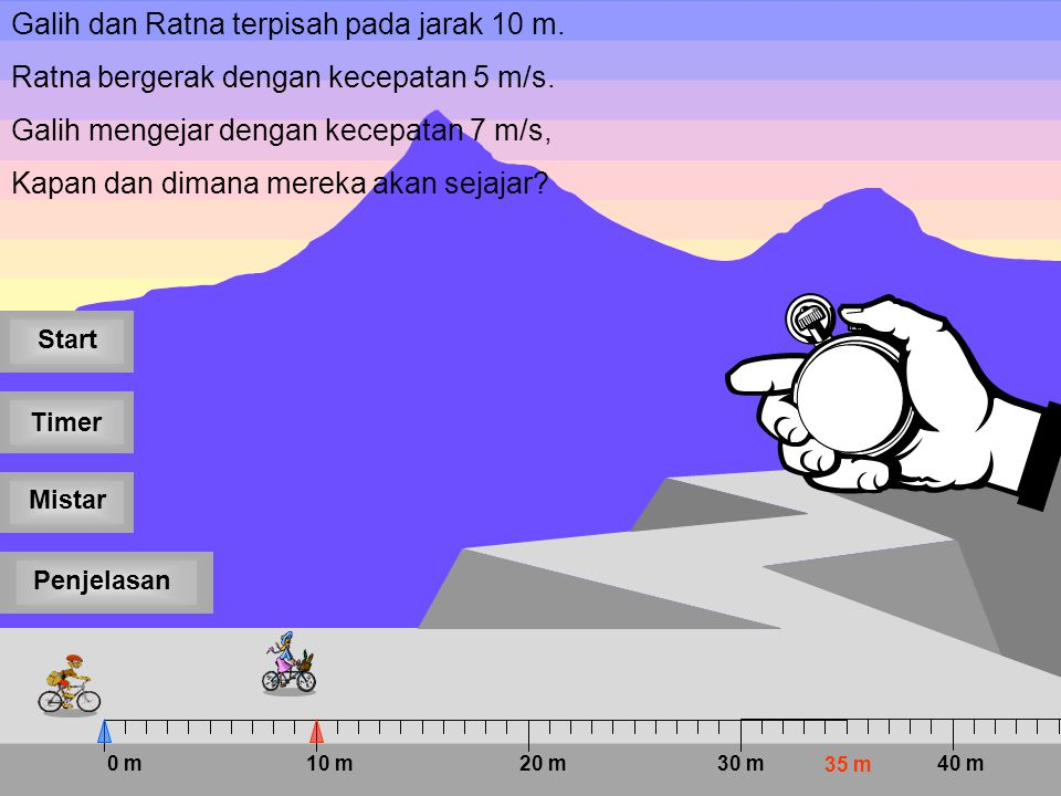 012345 PenjelasanMistar Timer Start Galih dan Ratna terpisah pada jarak 10 m.