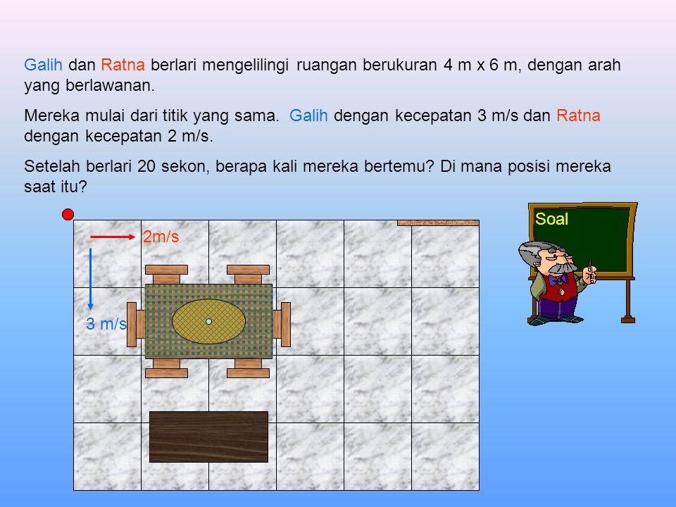 Soal Galih dan Ratna berlari mengelilingi ruangan berukuran 4 m x 6 m, dengan arah yang berlawanan.