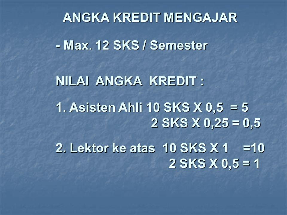 ANGKA KREDIT MENGAJAR - Max. 12 SKS / Semester NILAI ANGKA KREDIT : 1. Asisten Ahli 10 SKS X 0,5 = 5 2 SKS X 0,25 = 0,5 2. Lektor ke atas 10 SKS X 1 =