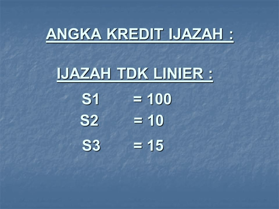 USULAN AWAL UTK S1 : S1 = 100 + 10 A.40% x 100 = min.
