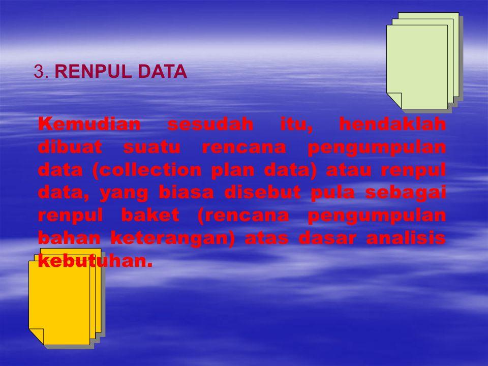Kemudian sesudah itu, hendaklah dibuat suatu rencana pengumpulan data (collection plan data) atau renpul data, yang biasa disebut pula sebagai renpul baket (rencana pengumpulan bahan keterangan) atas dasar analisis kebutuhan.