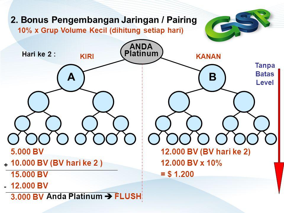 5.000 BV 10.000 BV (BV hari ke 2 ) 15.000 BV 12.000 BV 3.000 BV ANDA Platinum BA 12.000 BV (BV hari ke 2) Anda Platinum  FLUSH Hari ke 2 : + - 12.000
