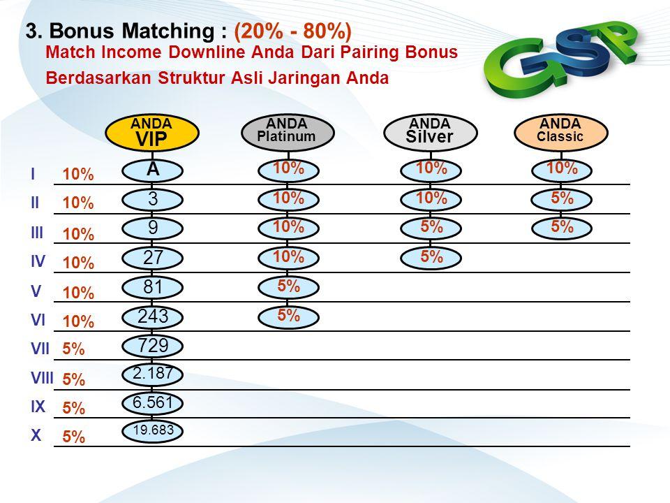 Match Income Downline Anda Dari Pairing Bonus Berdasarkan Struktur Asli Jaringan Anda ANDA VIP A 3 9 27 81 243 729 2.187 6.561 19.683 I II III IV V VI