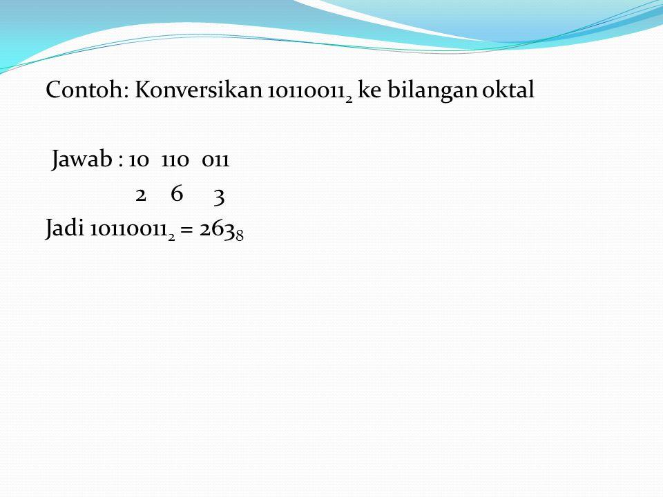 Contoh: Konversikan 10110011 2 ke bilangan oktal Jawab : 10 110 011 2 6 3 Jadi 10110011 2 = 263 8
