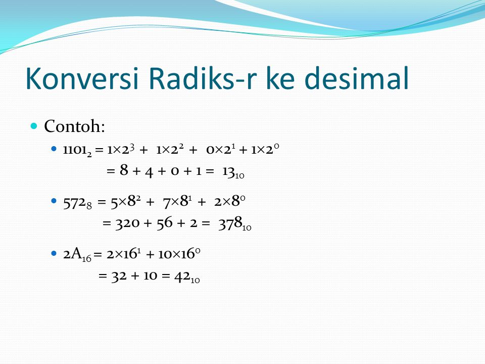 Konversi Radiks-r ke desimal Contoh: 1101 2 = 1  2 3 + 1  2 2 + 0  2 1 + 1  2 0 = 8 + 4 + 0 + 1 = 13 10 572 8 = 5  8 2 + 7  8 1 + 2  8 0 = 320
