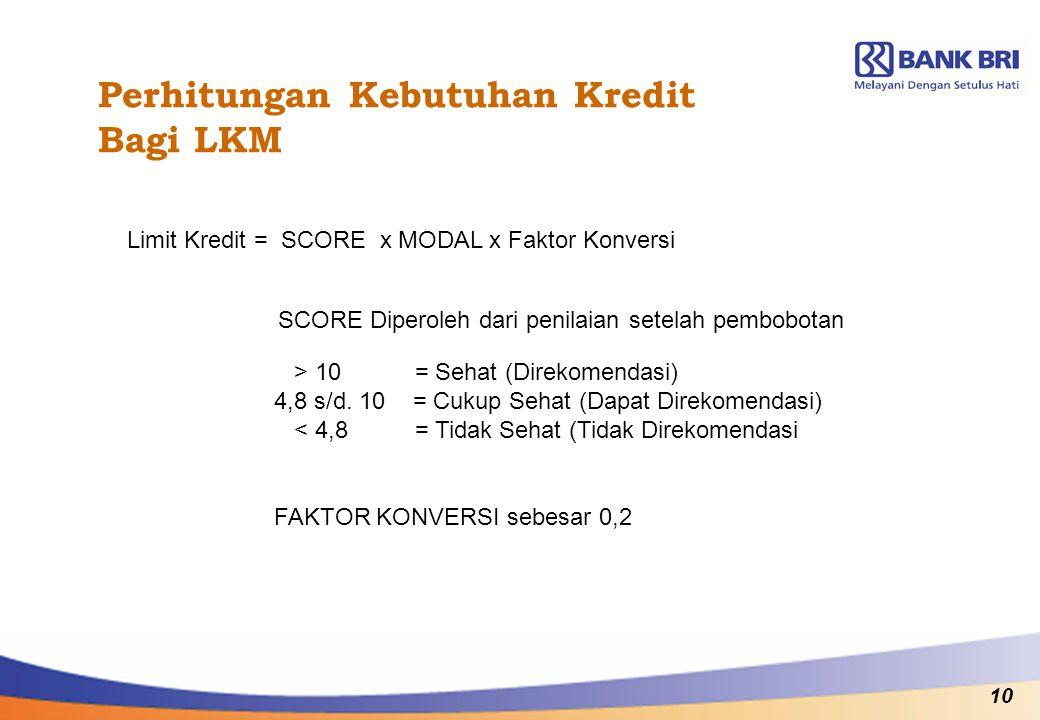 10 Perhitungan Kebutuhan Kredit Bagi LKM Limit Kredit = SCORE x MODAL x Faktor Konversi SCORE Diperoleh dari penilaian setelah pembobotan FAKTOR KONVE