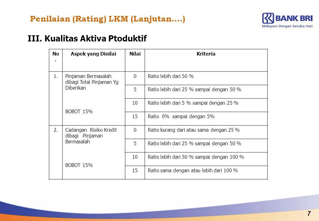 7 Penilaian (Rating) LKM (Lanjutan….) III. Kualitas Aktiva Ptoduktif No. Aspek yang DinilaiNilaiKriteria 1.Pinjaman Bermasalah dibagi Total Pinjaman Y