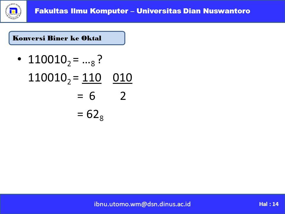 Konversi Biner ke Oktal ibnu.utomo.wm@dsn.dinus.ac.id Fakultas Ilmu Komputer – Universitas Dian Nuswantoro Hal : 14 110010 2 = … 8 .