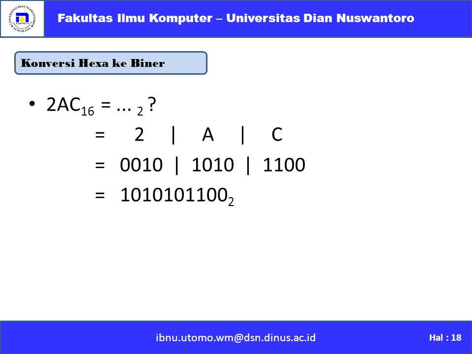 Konversi Hexa ke Biner ibnu.utomo.wm@dsn.dinus.ac.id Fakultas Ilmu Komputer – Universitas Dian Nuswantoro Hal : 18 2AC 16 =...