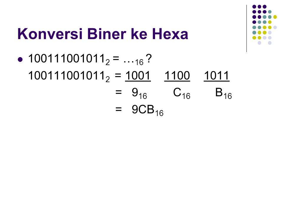 Konversi Desimal ke Biner 9 10 = … 2 ?