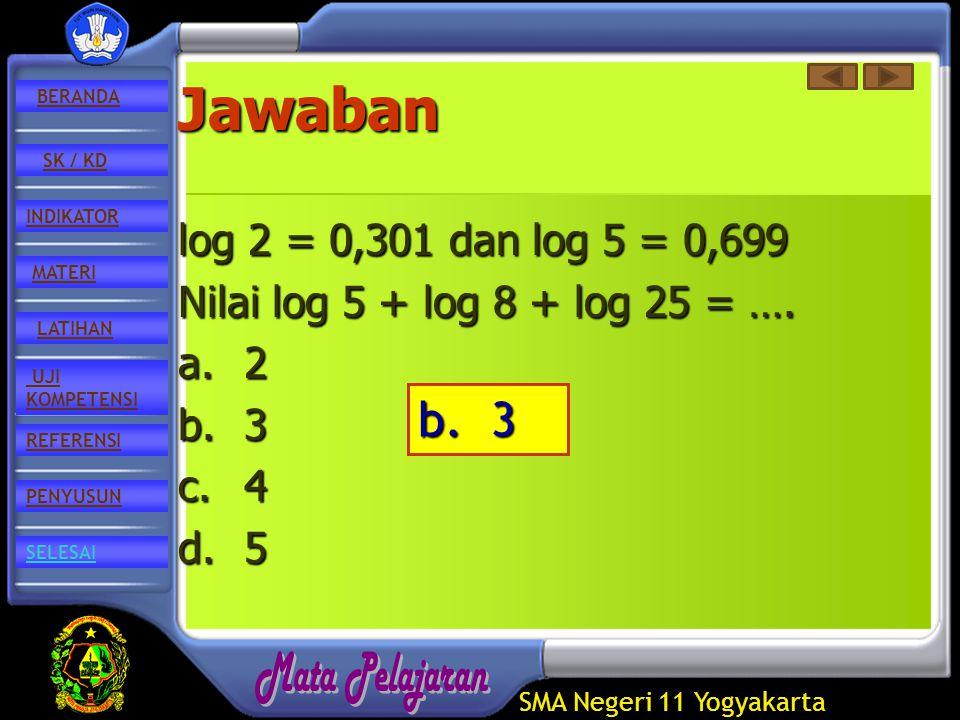 SMA Negeri 11 Yogyakarta REFERENSI LATIHAN MATERI PENYUSUN INDIKATOR SK / KD UJI KOMPETENSI BERANDA SELESAIJawaban log 2 = 0,301 dan log 5 = 0,699 Nilai log 5 + log 8 + log 25 = ….