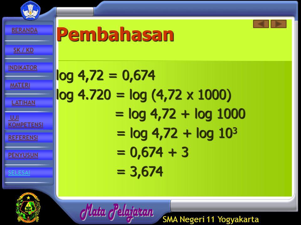 SMA Negeri 11 Yogyakarta REFERENSI LATIHAN MATERI PENYUSUN INDIKATOR SK / KD UJI KOMPETENSI BERANDA SELESAIPembahasan log 4,72 = 0,674 log 4.720 = log (4,72 x 1000) = log 4,72 + log 1000 = log 4,72 + log 1000 = log 4,72 + log 10 3 = log 4,72 + log 10 3 = 0,674 + 3 = 3,674 = 3,674