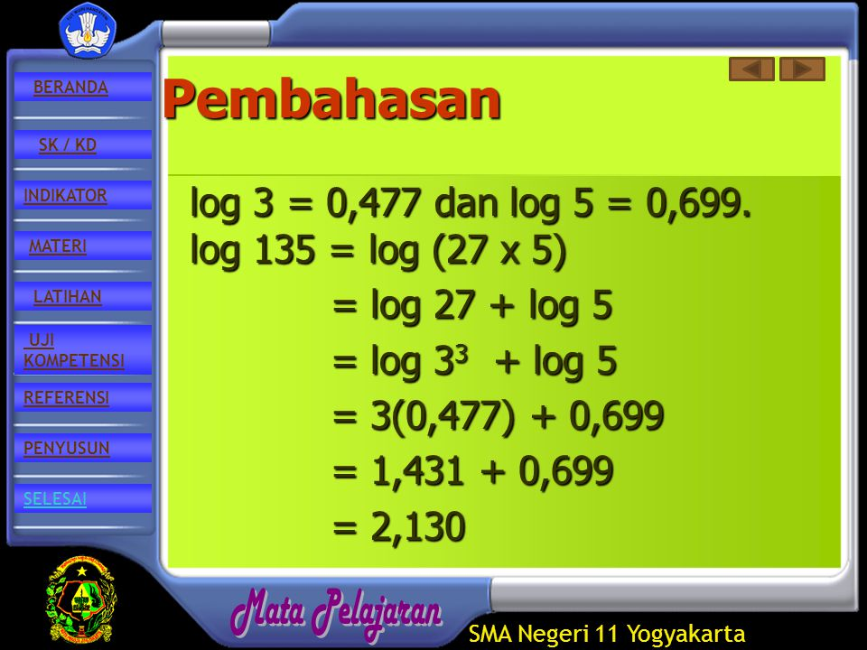 SMA Negeri 11 Yogyakarta REFERENSI LATIHAN MATERI PENYUSUN INDIKATOR SK / KD UJI KOMPETENSI BERANDA SELESAIPembahasan log 3 = 0,477 dan log 5 = 0,699.