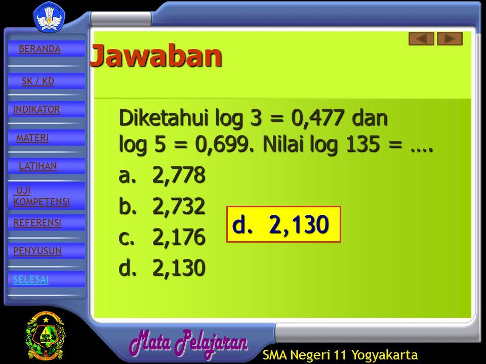 SMA Negeri 11 Yogyakarta REFERENSI LATIHAN MATERI PENYUSUN INDIKATOR SK / KD UJI KOMPETENSI BERANDA SELESAIJawaban Diketahui log 3 = 0,477 dan log 5 = 0,699.