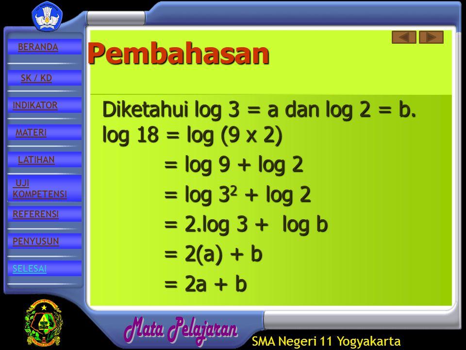 SMA Negeri 11 Yogyakarta REFERENSI LATIHAN MATERI PENYUSUN INDIKATOR SK / KD UJI KOMPETENSI BERANDA SELESAIPembahasan Diketahui log 3 = a dan log 2 = b.