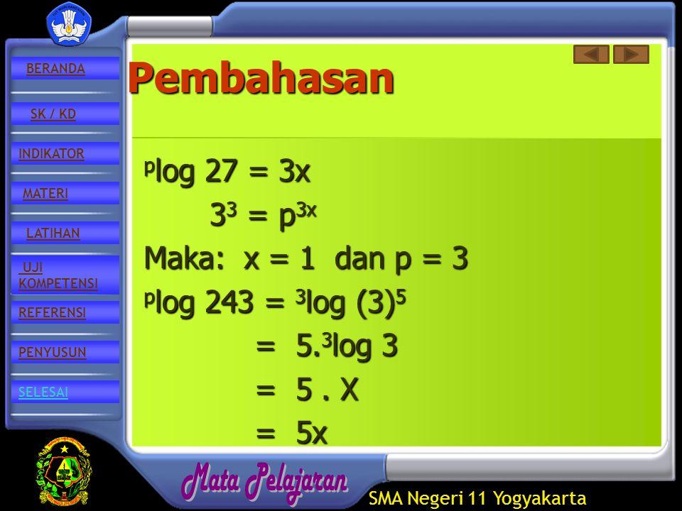 SMA Negeri 11 Yogyakarta REFERENSI LATIHAN MATERI PENYUSUN INDIKATOR SK / KD UJI KOMPETENSI BERANDA SELESAIPembahasan p log p log 27 = 3x 33 33 33 33 = p 3x Maka: Maka: x = 1 dan p = 3 p log p log 243 = 3 log 3 log (3) 5 = 5.