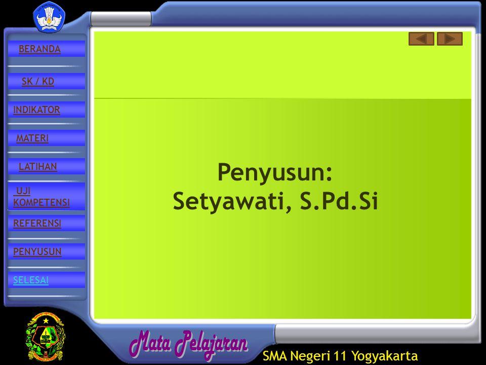 SMA Negeri 11 Yogyakarta REFERENSI LATIHAN MATERI PENYUSUN INDIKATOR SK / KD UJI KOMPETENSI BERANDA SELESAI Penyusun: Setyawati, S.Pd.Si