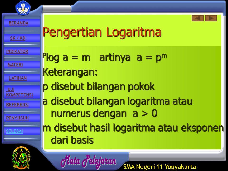 SMA Negeri 11 Yogyakarta REFERENSI LATIHAN MATERI PENYUSUN INDIKATOR SK / KD UJI KOMPETENSI BERANDA SELESAI Pengertian Logaritma P log P log a = m artinya a = pmpmpmpm Keterangan: p disebut bilangan pokok a disebut bilangan logaritma atau numerus dengan a > 0 m disebut hasil logaritma atau eksponen dari basis