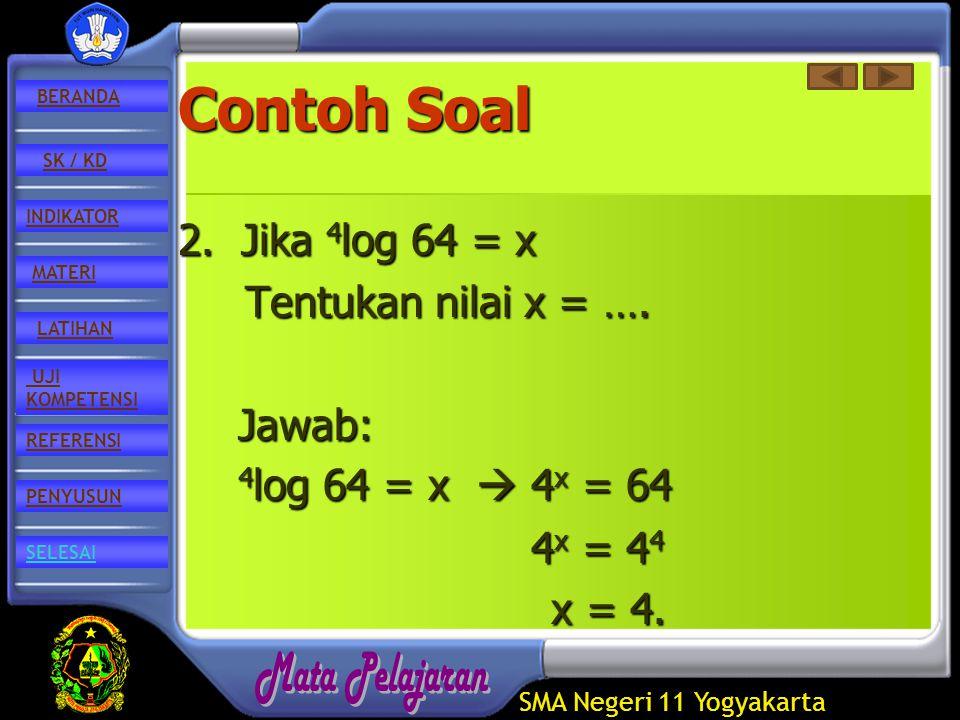 SMA Negeri 11 Yogyakarta REFERENSI LATIHAN MATERI PENYUSUN INDIKATOR SK / KD UJI KOMPETENSI BERANDA SELESAI Contoh Soal 2.