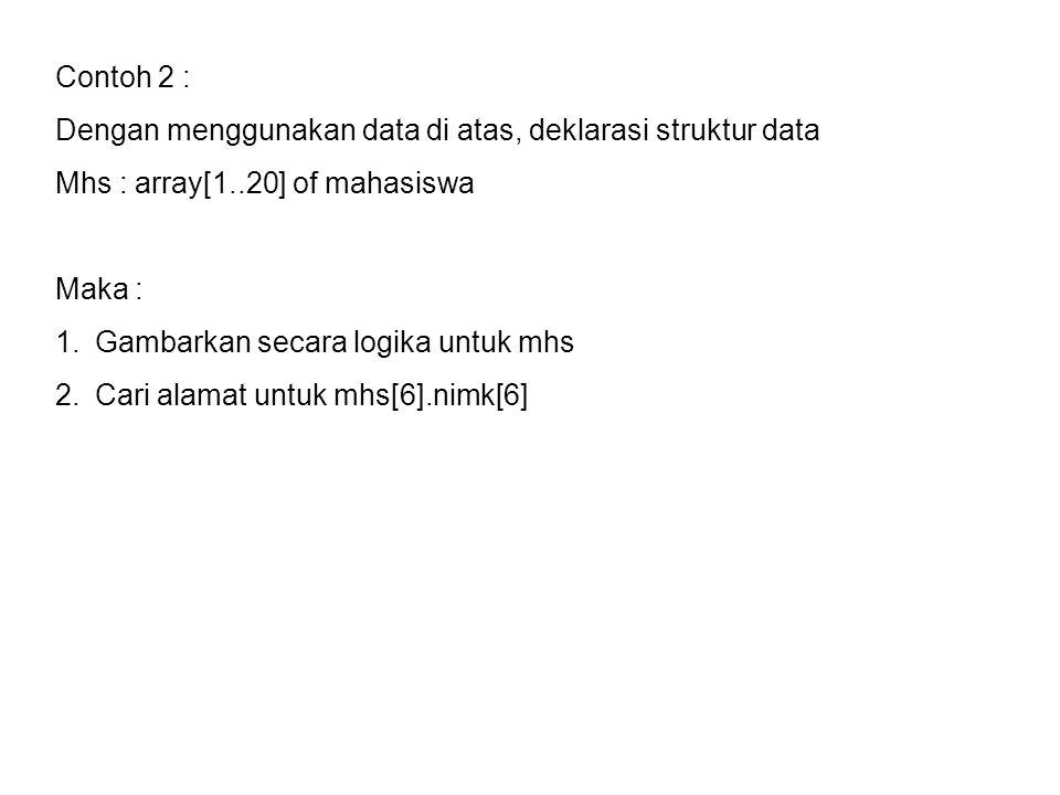 Contoh 2 : Dengan menggunakan data di atas, deklarasi struktur data Mhs : array[1..20] of mahasiswa Maka : 1.Gambarkan secara logika untuk mhs 2.Cari