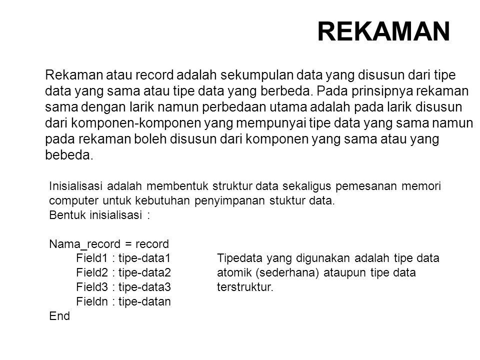 Rekaman atau record adalah sekumpulan data yang disusun dari tipe data yang sama atau tipe data yang berbeda. Pada prinsipnya rekaman sama dengan lari