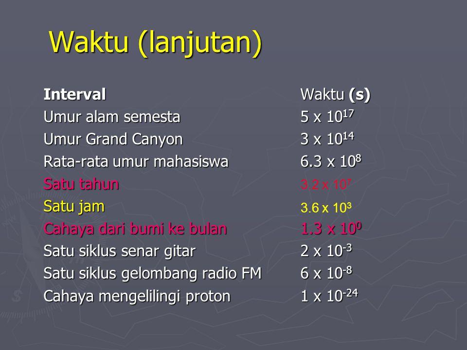 Waktu ► Satuan - Sekon (detik), semua sistem ► Satu sekon didefinisikan sebagai 9 192 631 700 x prioda radiasi dari sebuah atom cesium