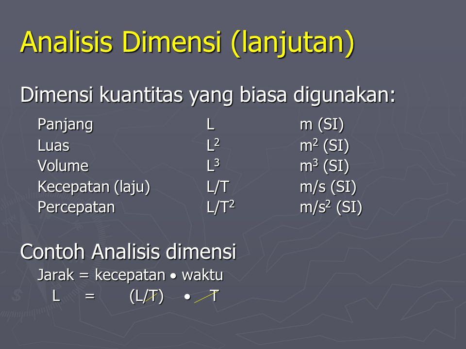 2. Analisis Dimensi ► Dimensi menyatakan sifat fisis dari suatu kuantitas ► Teknik untuk mengoreksi suatu persamaan ► Dimensi (panjang, massa, waktu &