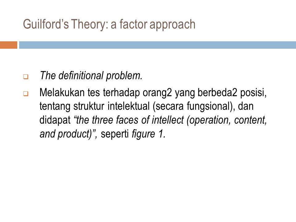 Guilford's Theory: a factor approach  The definitional problem.