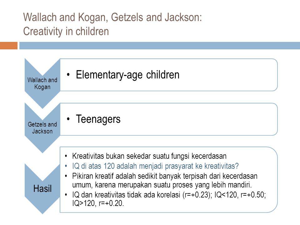 Wallach and Kogan, Getzels and Jackson: Creativity in children Wallach and Kogan Elementary-age children Getzels and Jackson Teenagers Hasil Kreativitas bukan sekedar suatu fungsi kecerdasan IQ di atas 120 adalah menjadi prasyarat ke kreativitas.