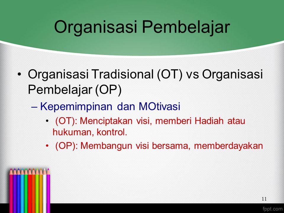 Organisasi Pembelajar Organisasi Tradisional (OT) vs Organisasi Pembelajar (OP) –Kepemimpinan dan MOtivasi (OT): Menciptakan visi, memberi Hadiah atau