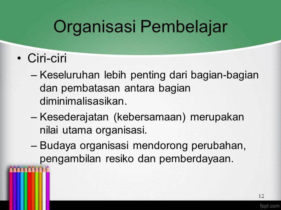 Organisasi Pembelajar Ciri-ciri –Keseluruhan lebih penting dari bagian-bagian dan pembatasan antara bagian diminimalisasikan. –Kesederajatan (kebersam