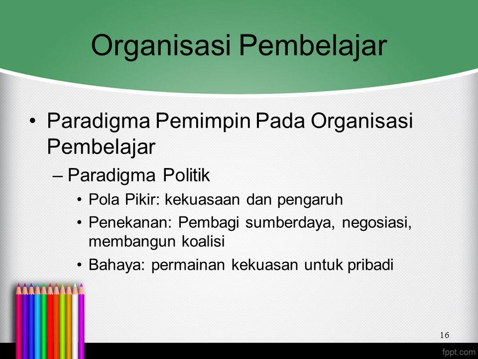 Organisasi Pembelajar Paradigma Pemimpin Pada Organisasi Pembelajar –Paradigma Politik Pola Pikir: kekuasaan dan pengaruh Penekanan: Pembagi sumberday