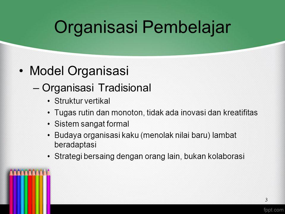 Organisasi Pembelajar Model Organisasi –Organisasi Tradisional Struktur vertikal Tugas rutin dan monoton, tidak ada inovasi dan kreatifitas Sistem san