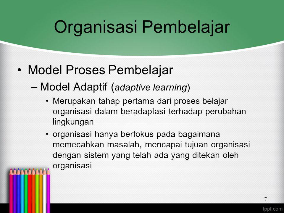 Organisasi Pembelajar Model Proses Pembelajar –Model Adaptif ( adaptive learning) Merupakan tahap pertama dari proses belajar organisasi dalam beradap