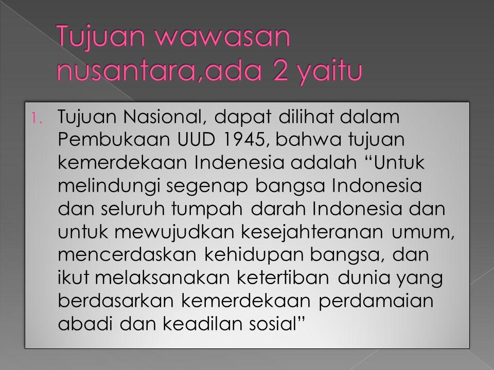 """1. Tujuan Nasional, dapat dilihat dalam Pembukaan UUD 1945, bahwa tujuan kemerdekaan Indenesia adalah """"Untuk melindungi segenap bangsa Indonesia dan s"""