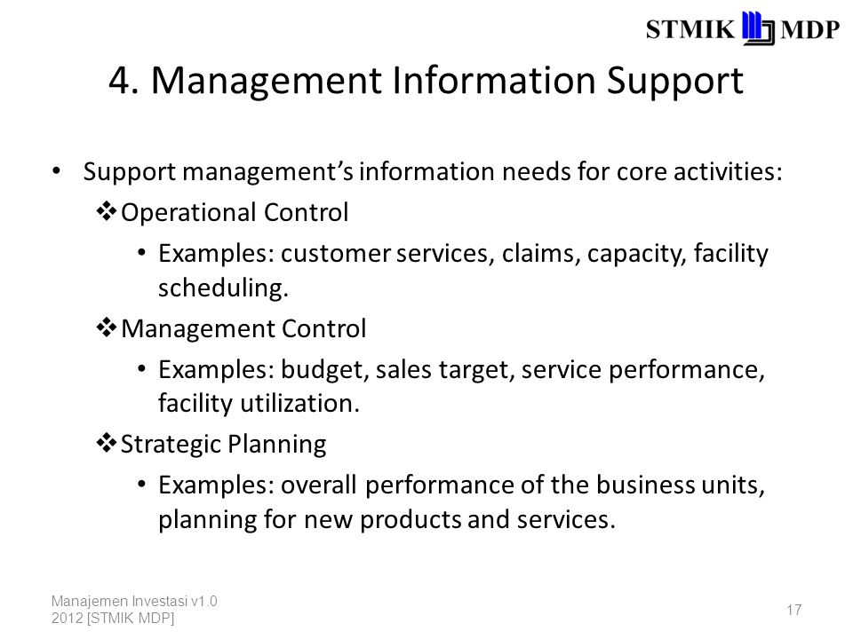 4. Management Information Support Support management's information needs for core activities:  Operational Control Examples: customer services, claim
