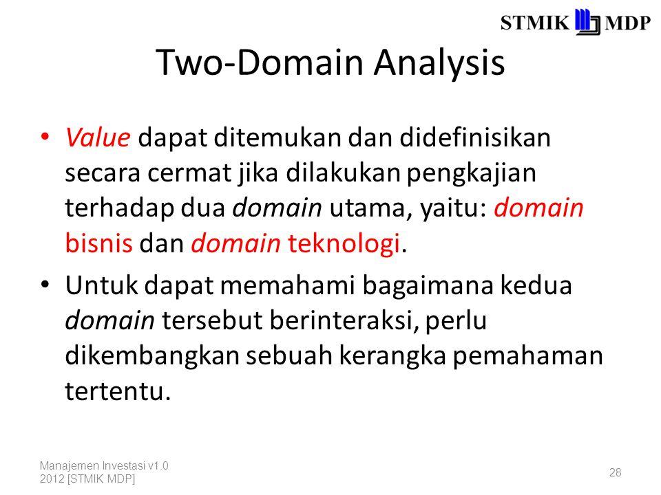 Two-Domain Analysis Value dapat ditemukan dan didefinisikan secara cermat jika dilakukan pengkajian terhadap dua domain utama, yaitu: domain bisnis dan domain teknologi.