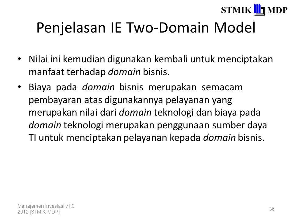 Penjelasan IE Two-Domain Model Nilai ini kemudian digunakan kembali untuk menciptakan manfaat terhadap domain bisnis.