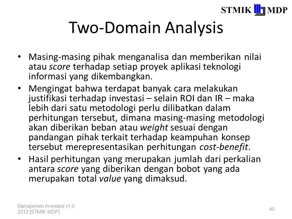 Two-Domain Analysis Masing-masing pihak menganalisa dan memberikan nilai atau score terhadap setiap proyek aplikasi teknologi informasi yang dikembangkan.