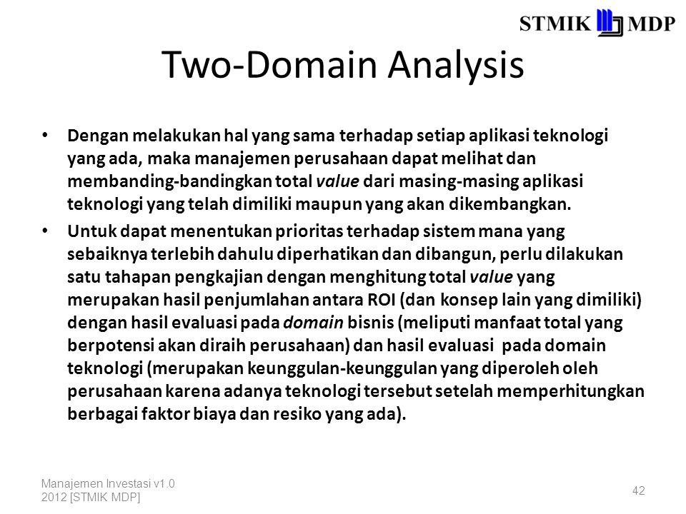 Two-Domain Analysis Dengan melakukan hal yang sama terhadap setiap aplikasi teknologi yang ada, maka manajemen perusahaan dapat melihat dan membanding-bandingkan total value dari masing-masing aplikasi teknologi yang telah dimiliki maupun yang akan dikembangkan.