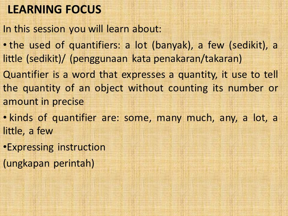 "LESSON 10: LET'S COOK LEARNING FOCUS USING ""a little"" USING ""a few"" PRACTICE 1 GIVING INSTRUCTION PRACTICE 2 MINI DICTIONARY"