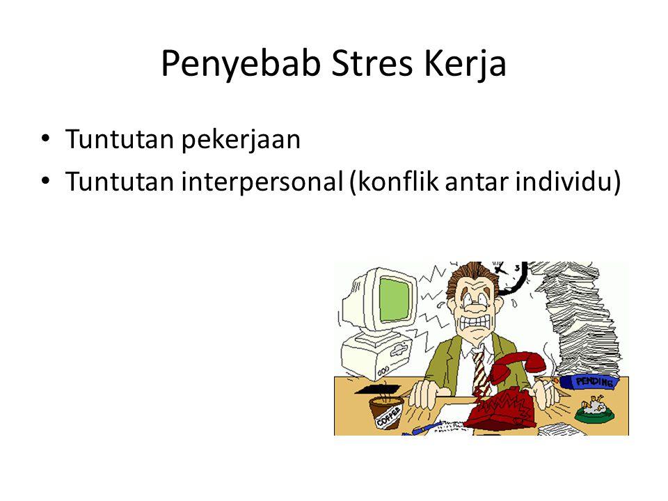 Penyebab Stres Kerja Tuntutan pekerjaan Tuntutan interpersonal (konflik antar individu)