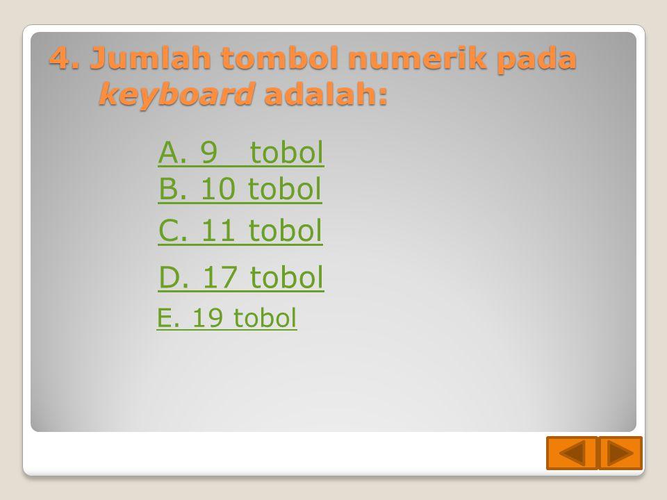 3. Mana hal berikut yang bukan merupakan fungsi dari keyboard? E. Menekan tombol page up untuk menggulung tampilan layar ke atas A. Menekan tombol pan