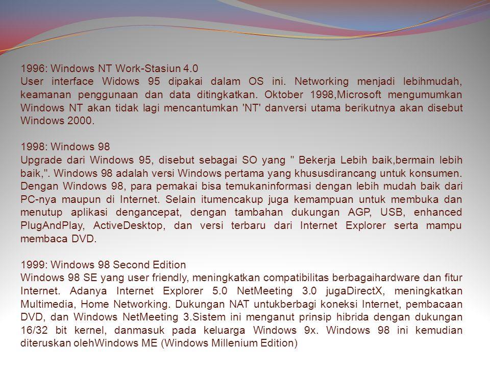 1996: Windows NT Work-Stasiun 4.0 User interface Widows 95 dipakai dalam OS ini.
