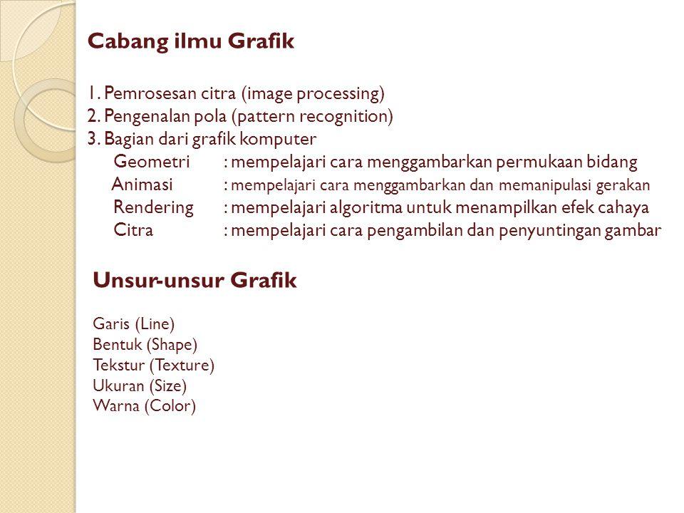 Cabang ilmu Grafik 1. Pemrosesan citra (image processing) 2.
