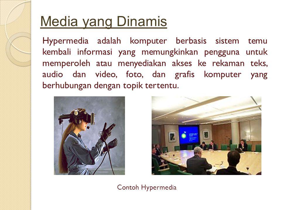 Media yang Dinamis Hypermedia adalah komputer berbasis sistem temu kembali informasi yang memungkinkan pengguna untuk memperoleh atau menyediakan akses ke rekaman teks, audio dan video, foto, dan grafis komputer yang berhubungan dengan topik tertentu.