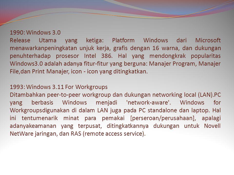1990: Windows 3.0 Release Utama yang ketiga: Platform Windows dari Microsoft menawarkanpeningkatan unjuk kerja, grafis dengan 16 warna, dan dukungan penuhterhadap prosesor Intel 386.