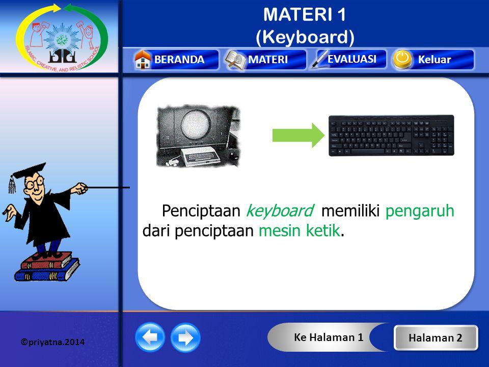 Keluar EVALUASI BERANDAMATERI ©priyatna.2014 MATERI 1 (Keyboard) Keyboard merupakan salah satu alat (papan tombol) input yang digunakan untuk memasukk