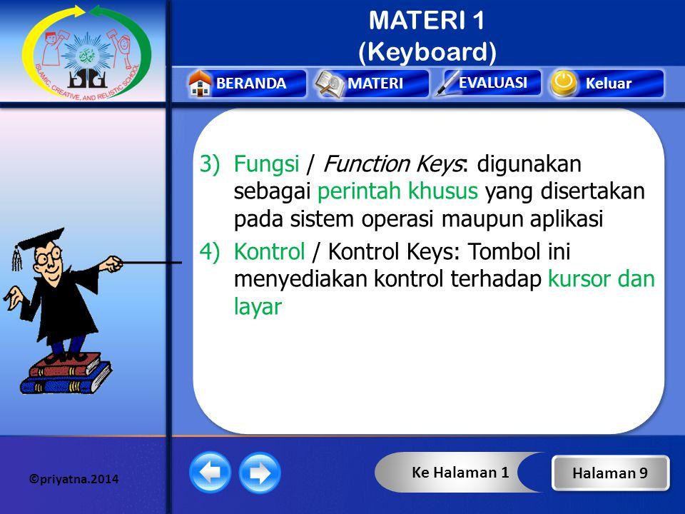 Keluar EVALUASI BERANDAMATERI ©priyatna.2014 MATERI 1 (Keyboard) Keterangan : 1)Ketik / Typing Keys : salah satu bagian dari keyboard yang berisi huru