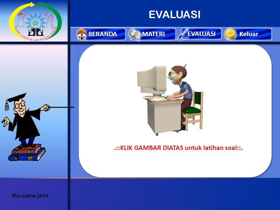 Keluar EVALUASI BERANDAMATERI ©priyatna.2014 MATERI 3 (Praktek).::KLIK GAMBAR KEYBOARD DIATAS ::. Untuk membuka program permainan keyboard